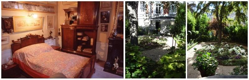 De gauche à droite : La chambre de Clemenceau; Vue sur le jardin au 8, rue Benjamin-Franklin dans le seizième arrondissement de Paris                                                                            Crédit : L. Lentignac et musée Clemenceau