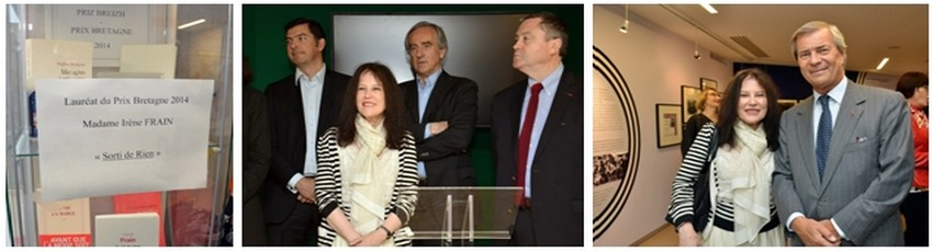 Irène Frain lauréate du Prix Bretagne-Breizh entourée par quelques-uns des membres du jury, (de droite à gauche) Philippe Le Guillou le président, Patrick Mahé, Sébastien Le Foll. A droite, l'écrivain en compagnie de l'homme d'affaires et mécène Vincent Bolloré à la Maison de la Bretagne à Paris (Crédit photo David Raynal)