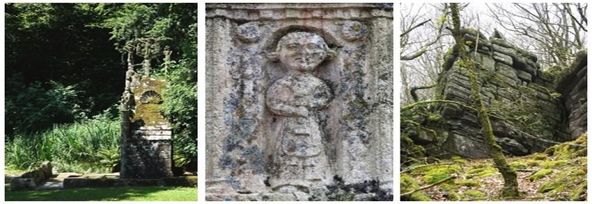 La petite ville de Cléqurec dans le Morbihan, où le père d'Irène Frain a passé plusieurs années en tant que garçon de ferme : de gauche à droite : la Fontaine de la Trinité, le Calvaire et les Roches du diable (Crédit photos D.R.)