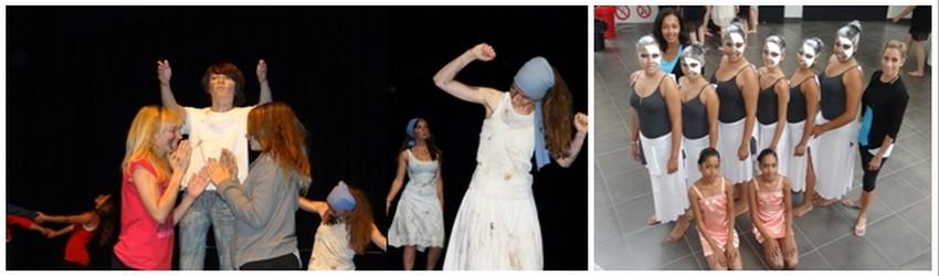 De gauche à droite : La danse UNSS se conjugue également au masculin. La preuve avec la troupe du « Collège  Fraissinet » à Marseille;  Interprétation avec le « Collège  Fraissinet » à Marseille, vainqueur de ces Championnats de France; Venues de l'Île de la Réunion, les danseuses du « Collège de Bourbon » à Saint-Denis. (Crédit photos : Bertrand Munier)