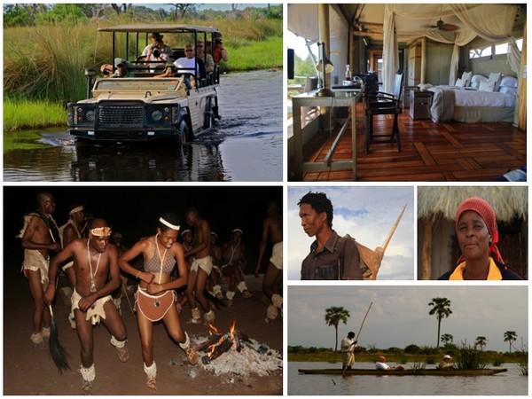 En Afrique Australe le Botswana d'une taille proche de la France reste encore préservé d'un tourisme de masse . Il a conservé un peu du charme des safaris d'antan. 2ème photo en haut à droite le Mombo Camp-Reserve de Moremi (Crédit photos Patrick Cros)