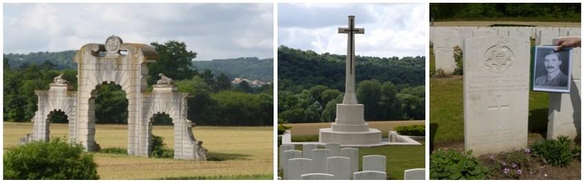 De gauche à droite : Vestiges du Château de Soupir (© Catherine Gary); Mémorial Anglais (© Catherine Gary); Cimetière anglais de Vendresse (© Catherine Gary) ;