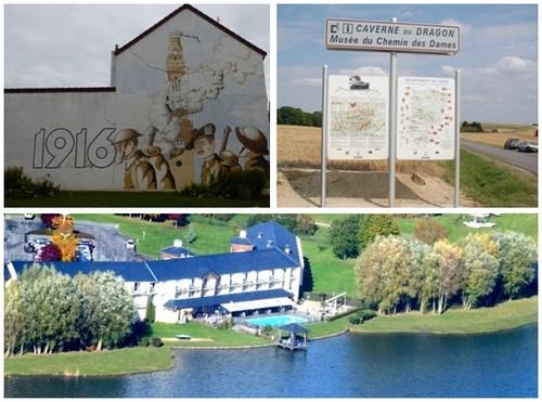 En haut de gauche à droite : Un tag en mémoire de la Grande Guerre sur un mur d'une maison située à Saint-Quentin dans l'Aisne (Crédit photo DR); à droite : Panneau recensant les parcours de mémoire de l'Aisne (Crédit photo DR); En bas : Vue d'ensemble de l'Hôtel du Golf de l'Ailette (Aisne) (Crédit photo DR)