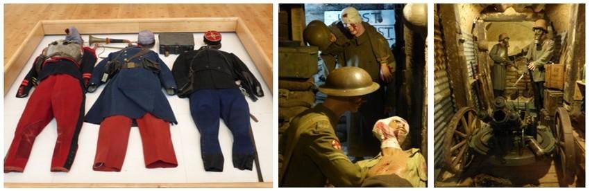 De gauche à droite : Costumes des poilus à l'Historial de la Grande Guerre à Péronne; A Albert,  le Musée Somme 1916 où sont rassemblés des objets et des scènes qui donnent le frisson. (© Photos Catherine Gary)