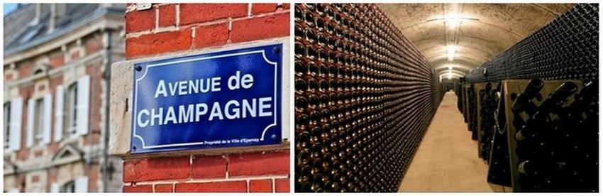 De gauche à droite : Plaque de l'Avenue de Champagne à Epernay ( © CRTCA); Les caves du Champagne de Telmont ( © DR)