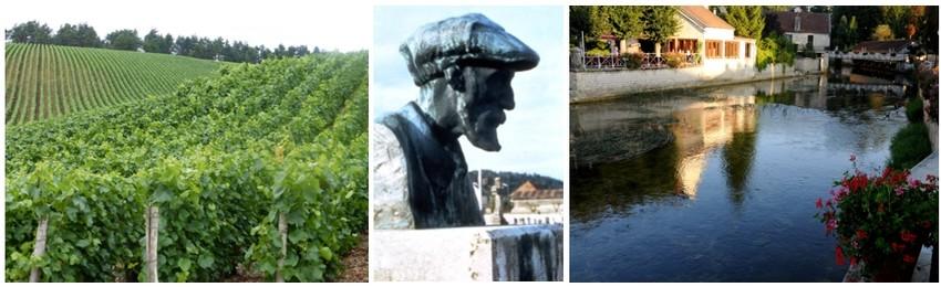 De gauche à droite : Vignobles de la Côte des bar (© Catherine Gary); La Statue de Renoir dans sa ville d'Essoyes ( © CDT Aube en Champagne ); Une vue de la petite ville d'Essoyes (© CDT Aube en Champagne)