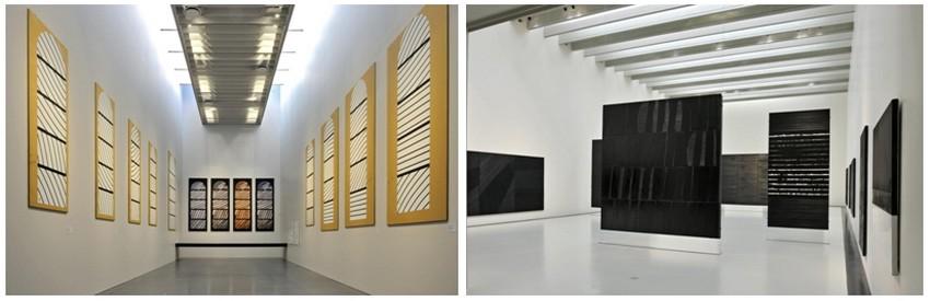 De gauche à droite : Les cartons de Conques et les Outrenoirs de Pierre Soulages (© Photos musée-soulages à Rodez)
