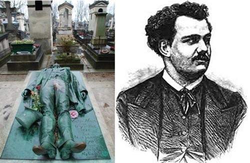 De gauche à droite : ) La sépulture sulfureuse de Victor Noir au cimetière parisien du Père Lachaise. (Crédit photo Bertrand Munier); Portrait de Yvan Salmon dit Victor Noir (Photo DR)