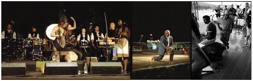 Kevrenn Alre et Saodaj en concert à l'ïle de la Réunion (Crédit Photo DR); Le grand chanteur Réunionnais Firmin Viry saluant son public , toujours Firmin Viry en plein concert  (Crédit photo DR)