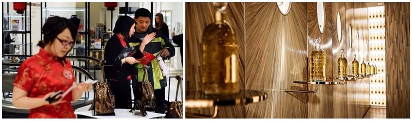 Un tiers des touristes chinois ont par exemple acheté un sac durant leur voyage à Paris, c'est d'ailleurs leur achat le plus cher devant l'horlogerie (Crédit photo Martin Bureau - AFP) - Viennent ensuite les parfums dans la Boutique Guerlain sur les Champs-Elysées (Crédit Photo Maison Guerlain)
