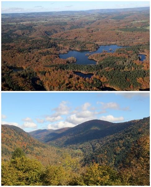Haut : Survol du Plateau des Mille Etangs; Bas : Massif du Ballon de Servance( Crédit photo André Degon)