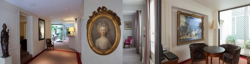 Cybèle Paluel-Marmont est la décoratrice de cette chaîne d'hôtels de charme qui dispose de sept établissements dans la capitale. Elle veille scrupuleusement au respect du patrimoine et à la conservation de l'esprit des lieux. De gauche à droite : 1/ Réception;  2/ Une très belle suite; 3/ Petit salon (Crédit photos DR)
