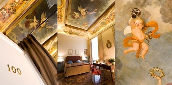 Datant de 1666, cette fresque magnifique se trouve  dans la suite n°100 au 1er étage de l'Hôtel des Saint-Pères. Commanditée alors par Pierre Abraham, seigneur de Charange - conseiller, maître d'hôtel ordinaire du Roi Louis XIV.(Crédit photos Arnaud Frich)