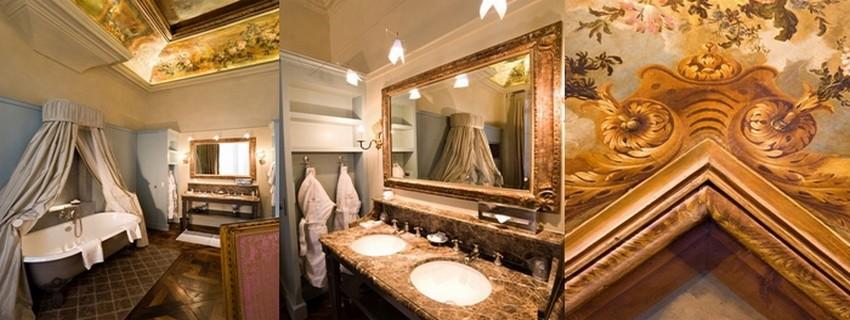 Toujours dans la suite n° 100, de l'hôtel des Saint-Pères à Paris,la magnifique salle de bain. (Crédit photos Arnaud Frich)