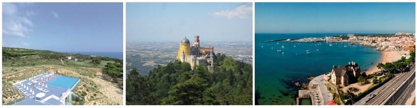 De gauche à droite : vue d'ensemble de l'hôtel The Oitavos à proximité de 2/  Sintra, ville inscrite au Patrimoine Mondial de l'UNESCO et de  3 /Cascais, charmant port de pêche (Crédit photos DR)