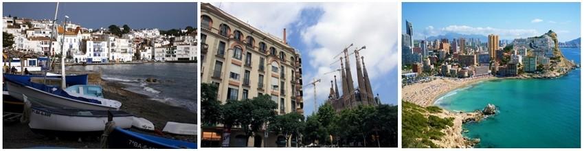 Le petit port de Cadaquès (Crédit photo David Raynal);  Barcelone, vue sur  la Sagrada Familia Basilique de Antoni Gaudí (Crédit photo David Raynal); Une plage d'Alicante (Espagne) (Crédit photo DR)