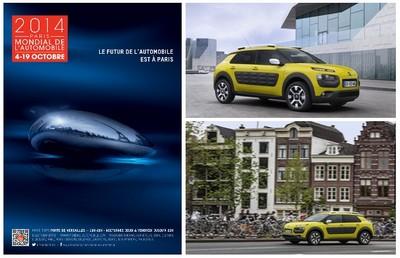 A gauche : Affiche du Mondial de l'Automobile 2014 ; En haut à droite :  Les fameux airbumps sur les flancs, du jamais vu. En bas à droite : Le C4 Cactus en route pour l'aventure..... (Crédit photos DR)