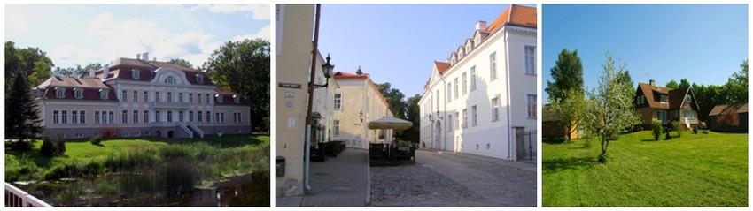 De gauche à droite : Vue sur le Château de Laupa  (en estonien : Laupa mõis, en allemand Schloß Laupa) est un château situé dans le village de Laupa appartenant à la commune de Türi (ancienne Turgel) dans la région de Järva en Estonie.(Crédit photo DR); Une rue de Tallinn où se trouvent d'élégants Hôtels Particuliers ( Crédit photo leblogdalain.blogspot.fr); Une ferme hébergement dans la campagne estonienne ( http://www.hansu.ee/hansu-tourism-farm/ External link)
