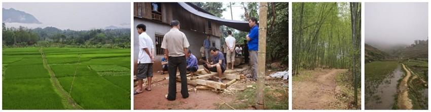 De gauche à droite :  Les terres sont redistribuées tous les vingt ans, pour que le sort ne soit pas de toute éternité ; 2/  Un homme très âgé, il a 89 ans, est dans sa dernière maladie. Le hameau prépare ses funérailles ; 3 et 4 /Après plusieurs heures de marche au milieu des champs, on pénètre dans une immense forêt de bambous.. (Crédit photos Yves Rinauro)