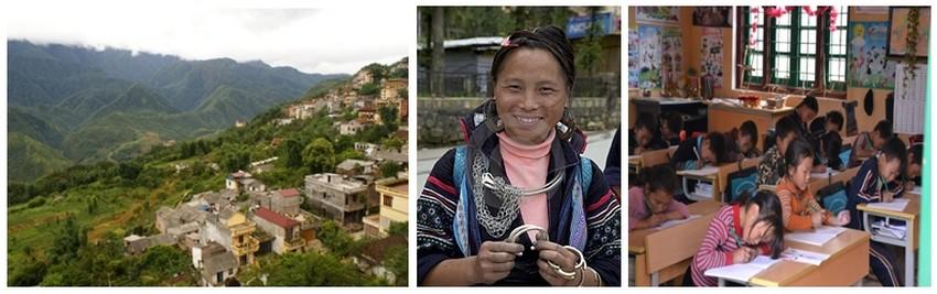 Arrivée à Sapa  des enfants et des femmes H'Mong assaillent les touristes pour leur vendre des produits réputés de l'artisanat. Dès le premier jour, on fait une rencontre étonnante dans l'école primaire du bas de la ville (Crédit photos DR)