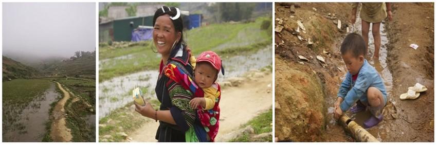 Nous nous engageons dans les rizières en terrasse.Deux femmes H'Mong nous accompagnent, Bla et Su. Cette dernière porte un bébé sur le dos.  Les ruisseaux sont captés pour déverser une partie du filet dans les terrasses, dont les bordures sont elles-mêmes échancrées pour permettre le passage de l'eau à l'étage suivant.(Crédit photos Yves Rinauro)