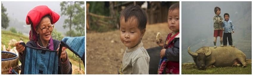 Les vieilles femmes H'Mongs veillent sur les enfants. A la fin de journée de labeur, nous voyons passer des paysans, la charrue sur l'épaule, qui laissent les enfants conduire les buffles, après les labourages.(Crédit photos Yves Rinauro)
