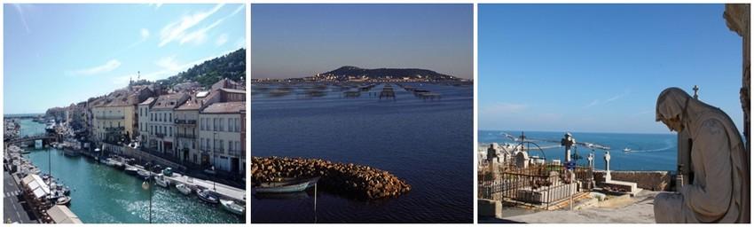 De gauche à droite : Vue sur le Canal Royal à Sète (Crédit photo DR); Bassin de Thau (Crédit photo DR); Cimetière marin de Sète (Crédit photo André Degon)