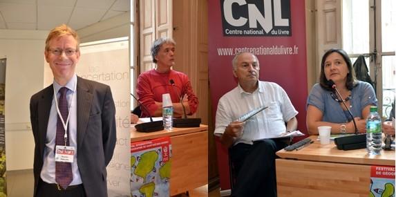 De gauche à droite : Quentin Philips, ministre conseiller de l'Ambassade d'Angleterre en France.Louis Marrou, géographe et professeur à l'Université de La Rochelle, président de l'Association pour le Développement du Festival International de Géographie (ADFIG) et Béatrice Collignon, directrice scientifique du FIG 2014 (Crédit photos David Raynal)