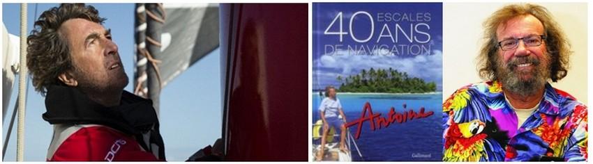 """De gauche à droite : L'acteur François Cluzet dans le film """"Solitaire """" ; Couverture du tout récent ouvrage  du chanteur-navigateur Antoine (Crédit photos DR)"""