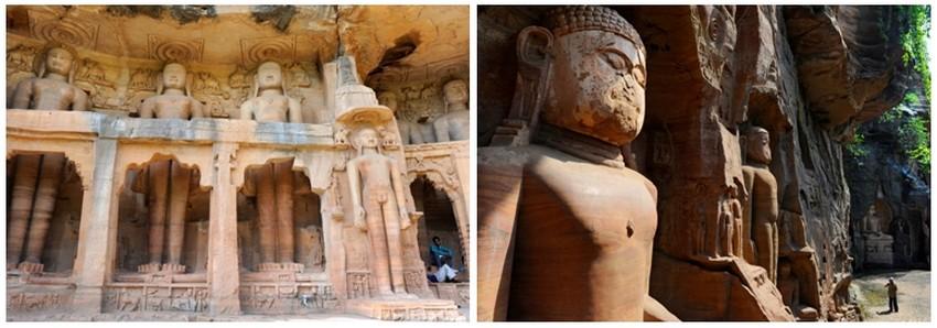 Statues jaïns creusées dans la falaise au pied de la forteresse de Gwalior ; (Crédit photos Fabrice Dimier)