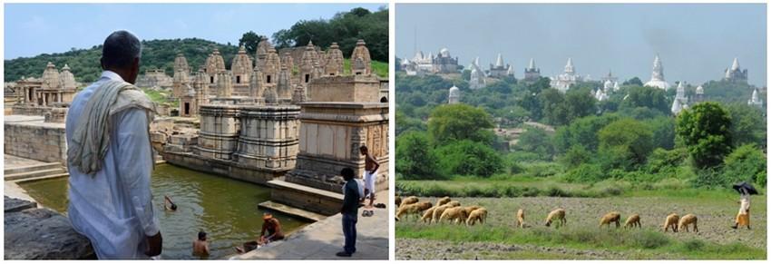 De gauche à droite : Baignade et prières sur les ghats à Batesara;  Berger au pied de Sonagiri, 108 temples jaïns blancs (Crédit photos Fabrice Dimier)