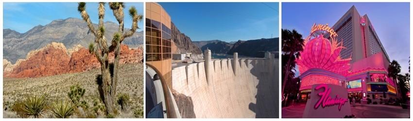 A l'origine Los Vegas n'était qu'une oasis dans le désert Nevada; 2/ Dans les années 30, le New Deal du président Roosevelt pour juguler la crise économique, entraîne la construction du Hoover Dam, un gigantesque barrage hydraulique utilisé pour produire de l'électricité.; 3/ c'est en 1946, que le Flamingo le premier hôtel-casino géant construit par Benjamin Siegel dit « Bugsy » un parrain de la mafia assassiné l'année suivante, voit le jour et ouvre définitivement l'ère de la démesure pour la ville.(Crédit photos Lasvegas.com)