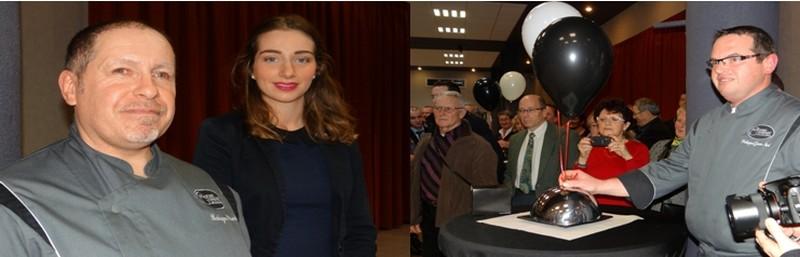 De gauche à droite : Aux côtés du président Pascal Batagne, la lauréate du concours : Clara Tettamanti.; La gagnante déposa sa recette chez Jean-Noël Philippot à Champigneulles (54).(Crédit photos Bertrand Munier)