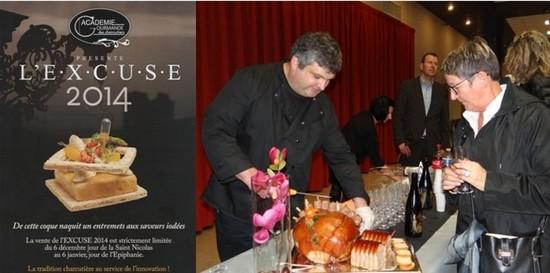 De gauche à droite : ) « L'Excuse 2014 » est en vente auprès des membres de l'académie.; Emmanuel Charton vient d'étoffer les rangs de l'académie.( Crédit photos Bertrand Munier)