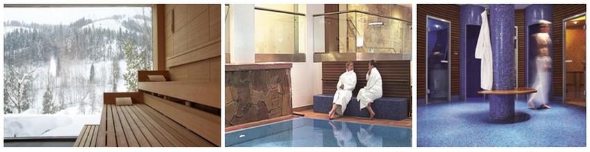 Détente à l'Hôtel Taube Tonbach***** dans les hammams dont un avec vue sur la montagne et ses splendides conifères; piscines avec eaux salées; Saunas et jets hydro-massants (Crédit photos DR)