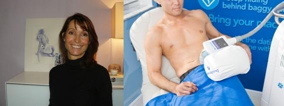De gauche à droite : Anne Grand Vincent, médecin esthétique au fin doigté (Crédit photo Catherine Gary); Un traitement qui fait également des adeptes chez les hommes (Crédit photo DR)
