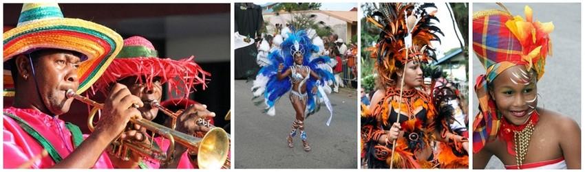 Tous les dimanches après-midi, les parades animent  les rues de Kourou, de Cayenne et de Saint-Laurent du Maroni. Les groupes déguisés qui se préparent depuis des mois défilent et dansent autour de chars décorés, au rythme des percussions et des cuivres. (Crédit photos DR)