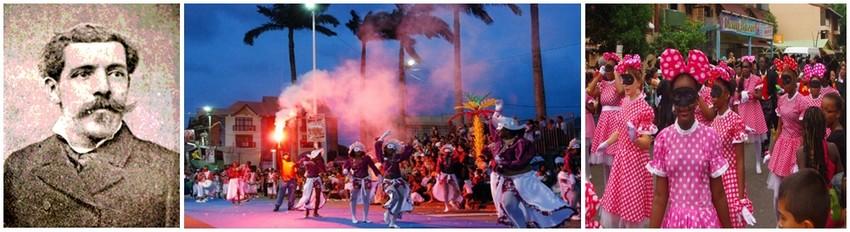 les colons  venus d'Europe célébraient le carnaval, alors interdit aux esclaves C'est seulement en 1885 que Gustave Franconie,  premier député de Guyane, officialise le carnaval.(1ère photo à Gauche - Crédit photo Wilkipédia)  - Photos 2 et 3.(Crédit photos  OT Guyane))