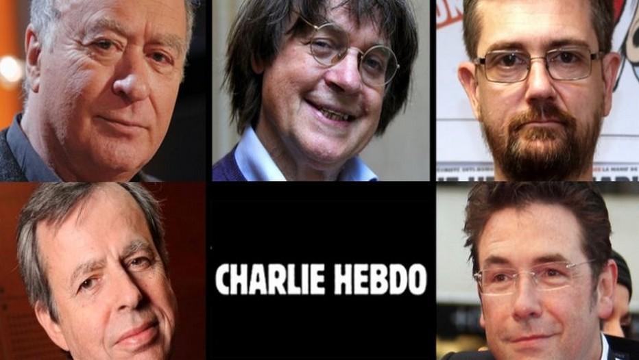 De gauche à droite : Les dessinateurs Wolinski, Cabu, Charb, en bas à gauche : l'économiste Bernard Maris et le dessinateur Tignous (Crédit photo DR)