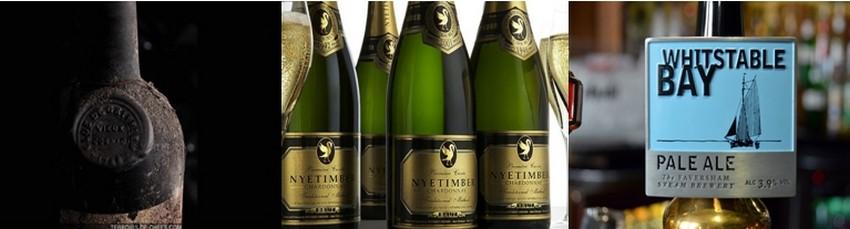 """De gauche à droite : Vieux cognac ,grande fine champagne """"Clos du Griffier, Café Anglais 1788"""" (Crédit photo DR); 2/ Nyetimber le champagne anglais (Crédit photo DR) 3/ La Whitstable Bay, l'une des bières blondes fabriquées dans la brasserie Sheperd Neame à Faversham dans le Kent (Crédit photo DavidRaynal)"""