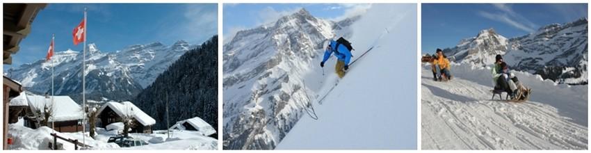 Depuis que l'Angleterre Victorienne s'est prise d'engouement pour la Suisse, comme d'autres villages de montagne, Les Diablerets devint  une « station » ou se développa les sports de neige : ski, curling, sorte de bowling sur glace, bobsleigh, luge…(Crédit photos 1 et 3 - My Swizerland.com; 2/ ©Christophe.Racat)