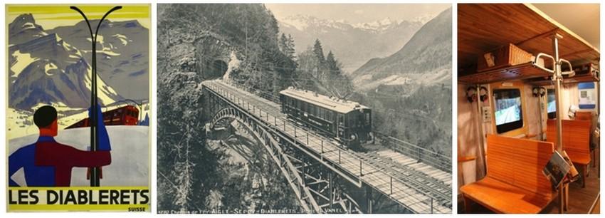 Inauguration de la ligne Aigle-Le Sepey-Les Diablerets en juillet 1914 (Crédit Photo 1  - Musée des Ormonts); 2/ Crédit photo ( musée de Lausanne)  3/  Musée des Ormonts (Crédit photo André Degon)