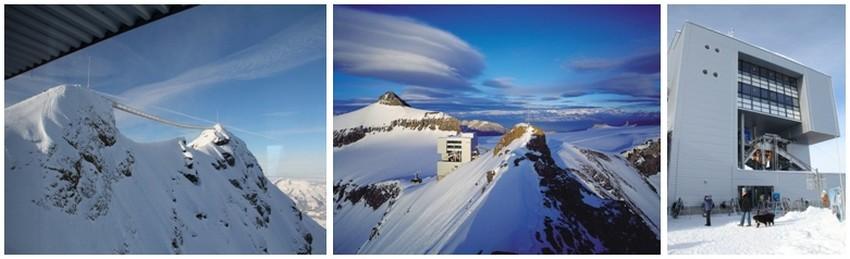De gauche à droite : 1/ Une passerelle à 2971 m d'altitude (Crédit Photo degon); 2/ Glacier3000 sur la droite le Scex rouge, au fond l'Aldenhorn. Entre les deux le terminal du téléphérique dessiné par Mario Botta.(Crédit photo DR); 3/Glacier 3000. Le terminus conçu par Mario Botta abrite également un restaurant.(Crédit photo degon)