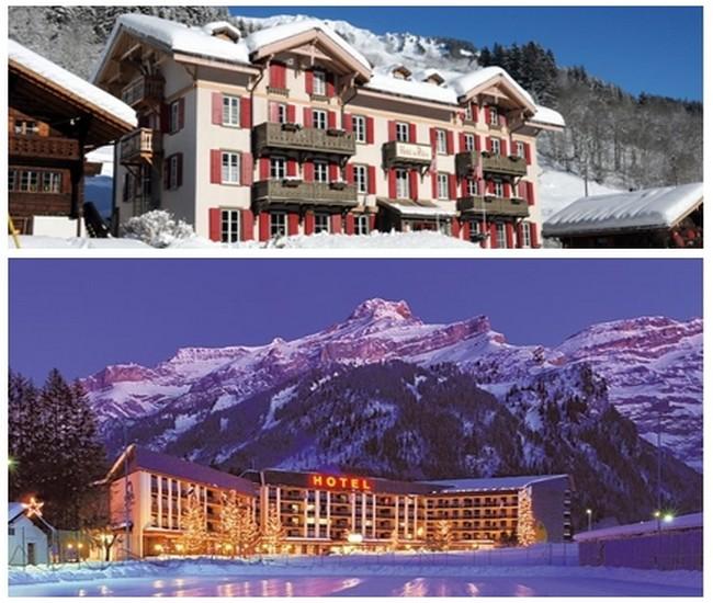Photo du haut : le magnifique hôtel  du Pillon en hiver, également le plus ancien des Diablerets (Crédit photo DR); Photo du bas : L'Eurotel Victoria, hôtel classique mais magnifiquement situé (Crédit photo DR)