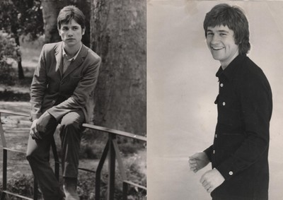 De gauche à droite : Claude en 1966 à l'âge de 20 ans ; Année 1969, période des vrais premiers enregistrements pour C. Jérôme. ( collection personnelle d'Annette Dhôtel l'épouse de C. Jérôme)