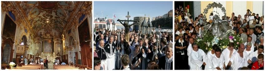 De gauche à droite : Oratoire Sainte-Croix (© Catherine Gary); Photos 2 et 3 : Chaque année le Vendredi saint précédant la fête de Pâques, les pénitents de ces deux confréries entonnent en procession le Perdono mio Dio habillés de noir, tandis que dans la citadelle, le Christ noir, sorti de sa châsse, est porté par d'autres pénitents, pieds nus, cagoulés de blanc. (© DR)