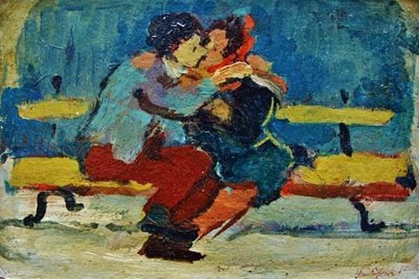Un couple amoureux s'embrasse dans les jardins du Luxembourg - une toile de David Seifert de 1930 (© DR)