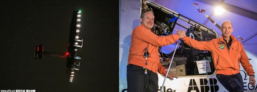 Solar Impulse 2 – l'avion solaire a bouclé en Chine sa cinquième étape;  La joie de André Borschberg et Bertrand Piccard  à l'arrivée sur le sol chinois  ©  DR