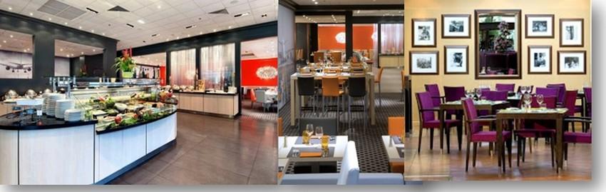 De gauche à droite : restaurant avec buffet à volonté ou formule à la carte ; salle de restaurant design : la très conviviale salle du bar. (Crédit photos DR)