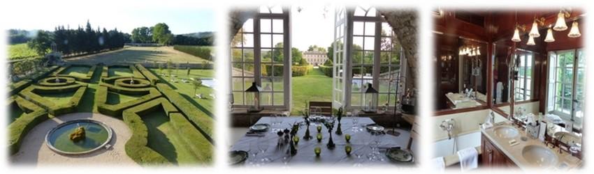 Jardins à la française, élégance et charme de l'orangerie et dans les chambres les salles de bains (modernes) ont conservé le charme d'antan (Crédit photos Yann Menguy)